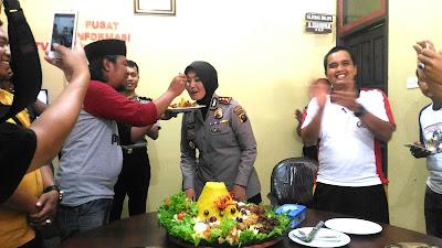 Peringatan HPN , Kapolres Prabumulih Berikan 'Surprise Party' Kepada Awak Media