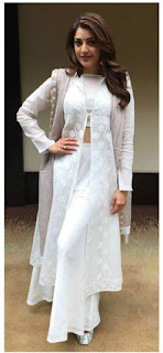 Kajal Aggarwal in White Palazzo and Long Kurti with a white Crop Top Stunning Beauty