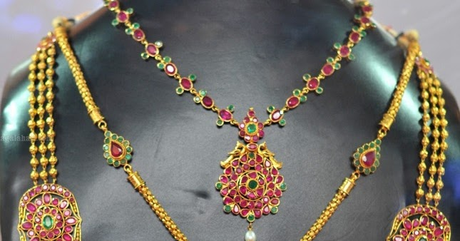 Small Gundla Steps Haram With Ruby Side Pendent
