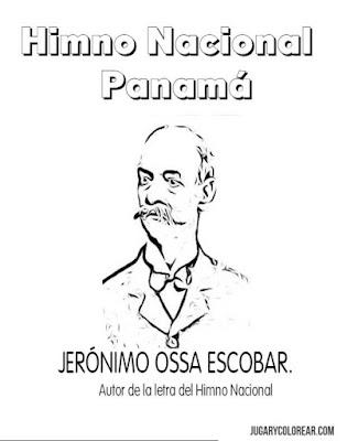 Colorear Don Jeronimo Ossa himno nacional de Panama