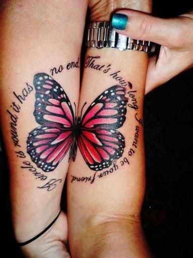 Cor-de-rosa Borboleta com Citação de Tatuagem para Melhores Amigos
