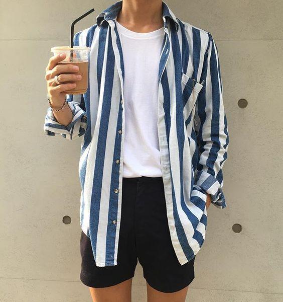 Listrado Masculino: Camisa Listrado Vertical