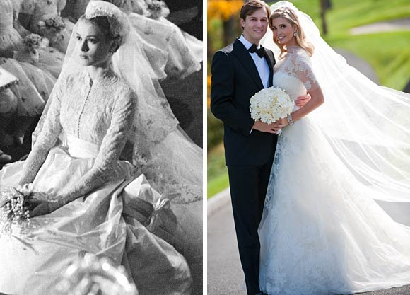 grace kelly vs. Ivanka Trump robe vintage mariage