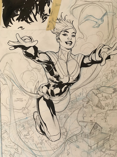 The Bombshellter  Life of Captain Marvel  2 Cover Art Step by Step     Part 2 Line Art