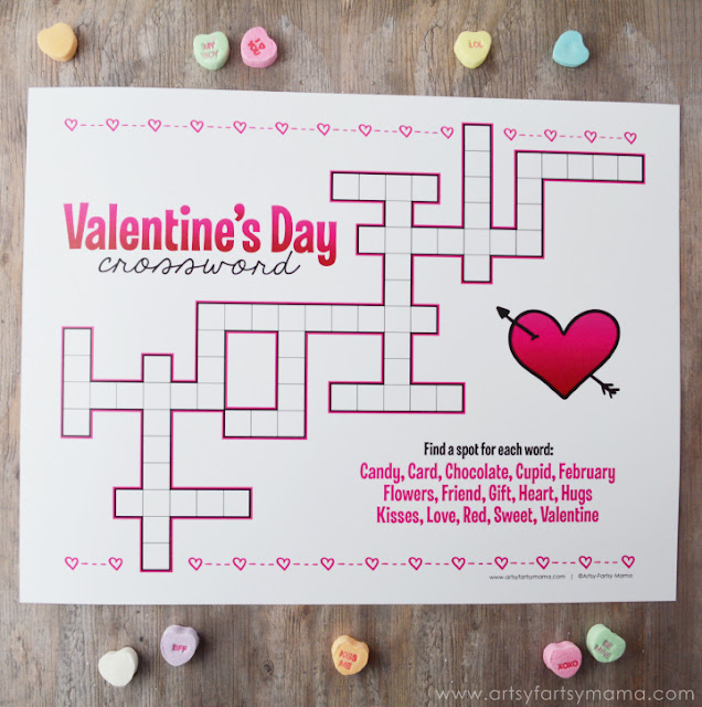 Free Printable Valentine's Day Crossword at artsyfartsymama.com #Valentine