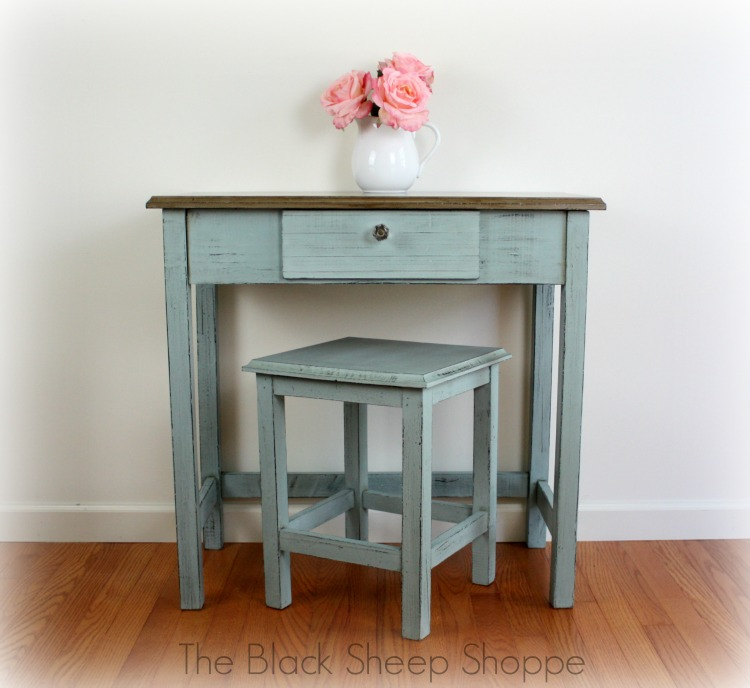 Petite writing desk painted in Duck Egg Blue and Coco