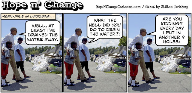 obama, obama jokes, political, humor, cartoon, conservative, hope n' change, hope and change, stilton jarlsberg, louisiana, flood, vacation, asshole