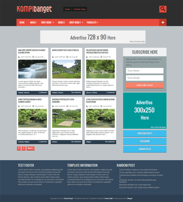 konpi banget ads ready and gallery blogger template and black,orange,1 column