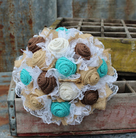 rustic wedding flowers with turquoise