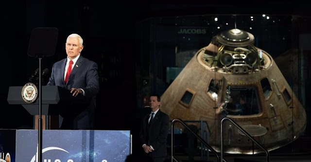 Vice President Mike Pence, speaking at the U.S. Space and Rocket Center in Huntsville, Alabama, March 26, directed NASA to land humans on the moon by 2024, four years earlier than the agency's current plans. Credit: White House
