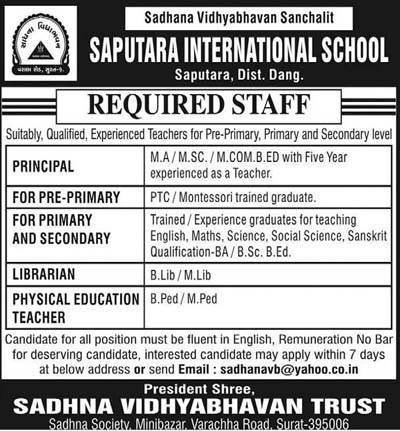 Saputara International School Recruitment 2017 for Various Posts