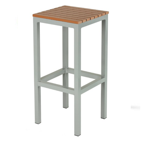Lola Aluminum Outdoor Backless Barstool in Poly Wood