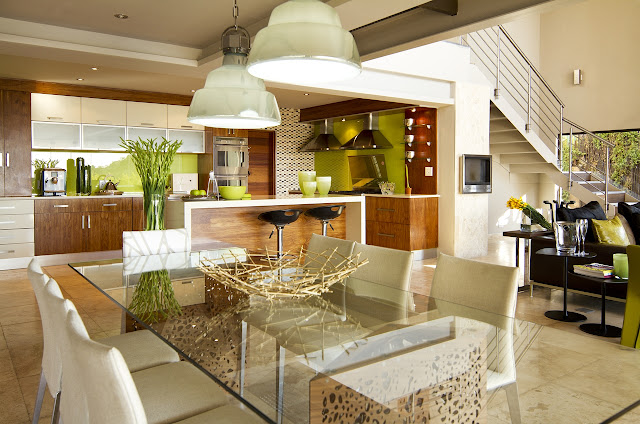 Modern bright dining room of the modern villa