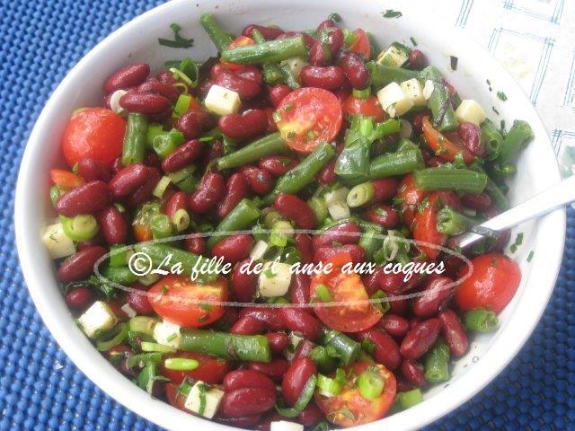 la fille de l 39 anse aux coques salade aux haricots rouges petites tomates et haricots verts. Black Bedroom Furniture Sets. Home Design Ideas