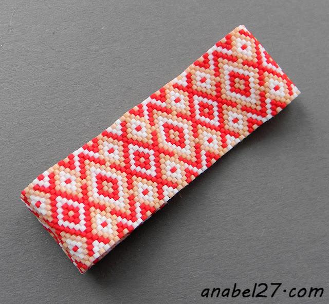 этническое украшение из бисера - браслет с орнаментом