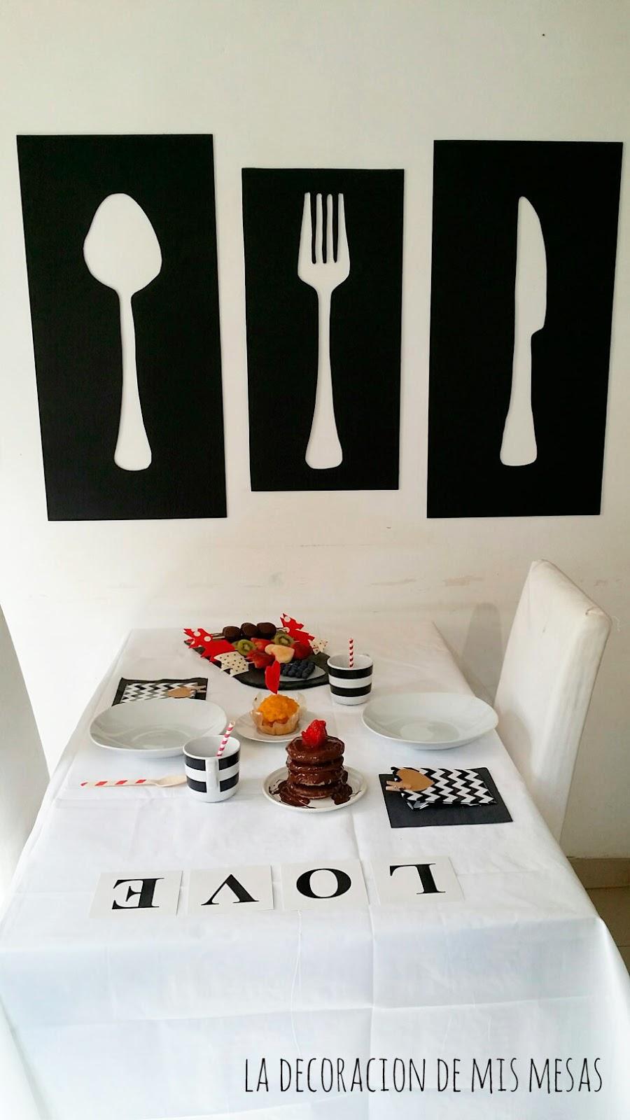 Mesa decorada para San Valentin