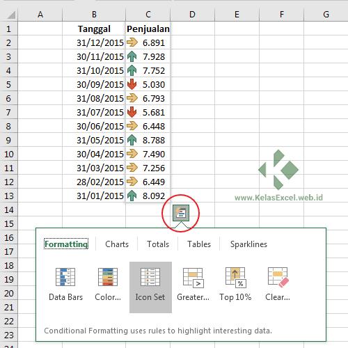 Quick Analysis Tools Excel 2016