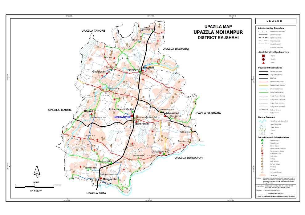 Mohanpur Upazila Map Rajshahi District Bangladesh