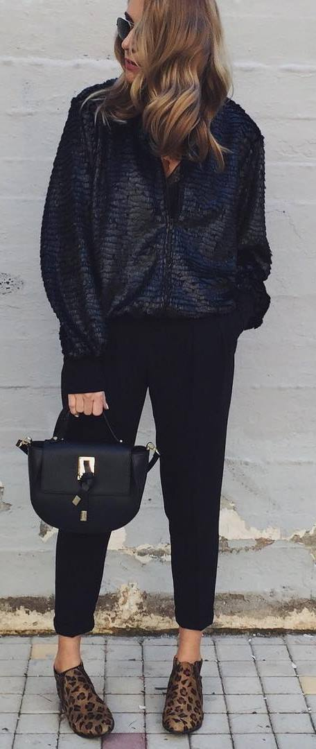black on black | bomber + pants + bag + animal prited loafers