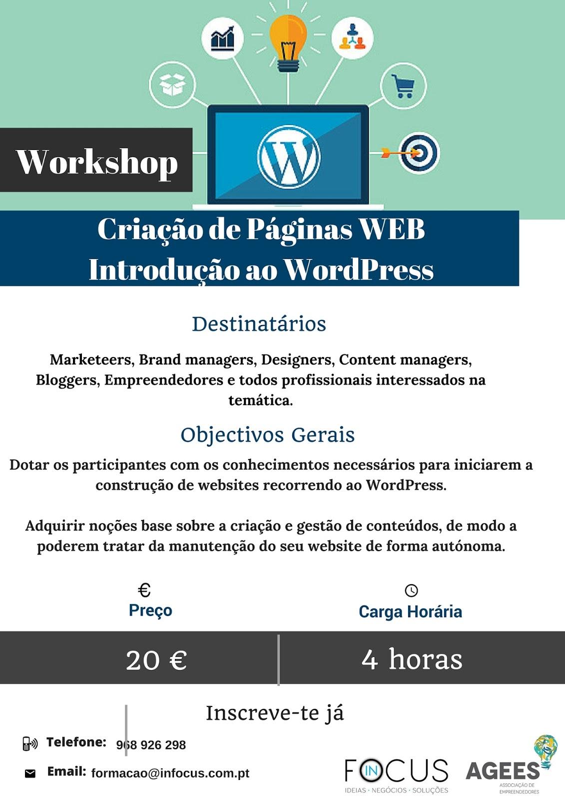 Wokshop: Criação de Páginas WEB (Introdução ao WordPress) – Coimbra