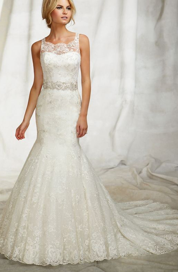 lace wedding dress with beaded waistband.