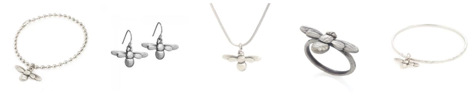 Danon silver honey bee necklace bracelet ring earrings bangle