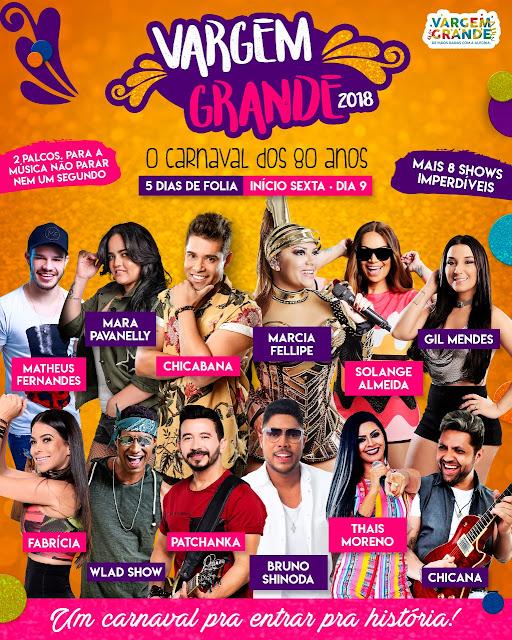 Prefeitura de Vargem Grande divulga a programação do Carnaval 2018