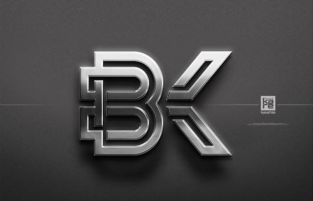 BK Beyaz Kare Logo Tasarımı gümüş metal