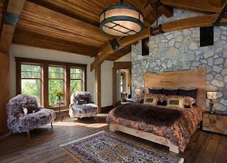 Habitación rústica pared piedras