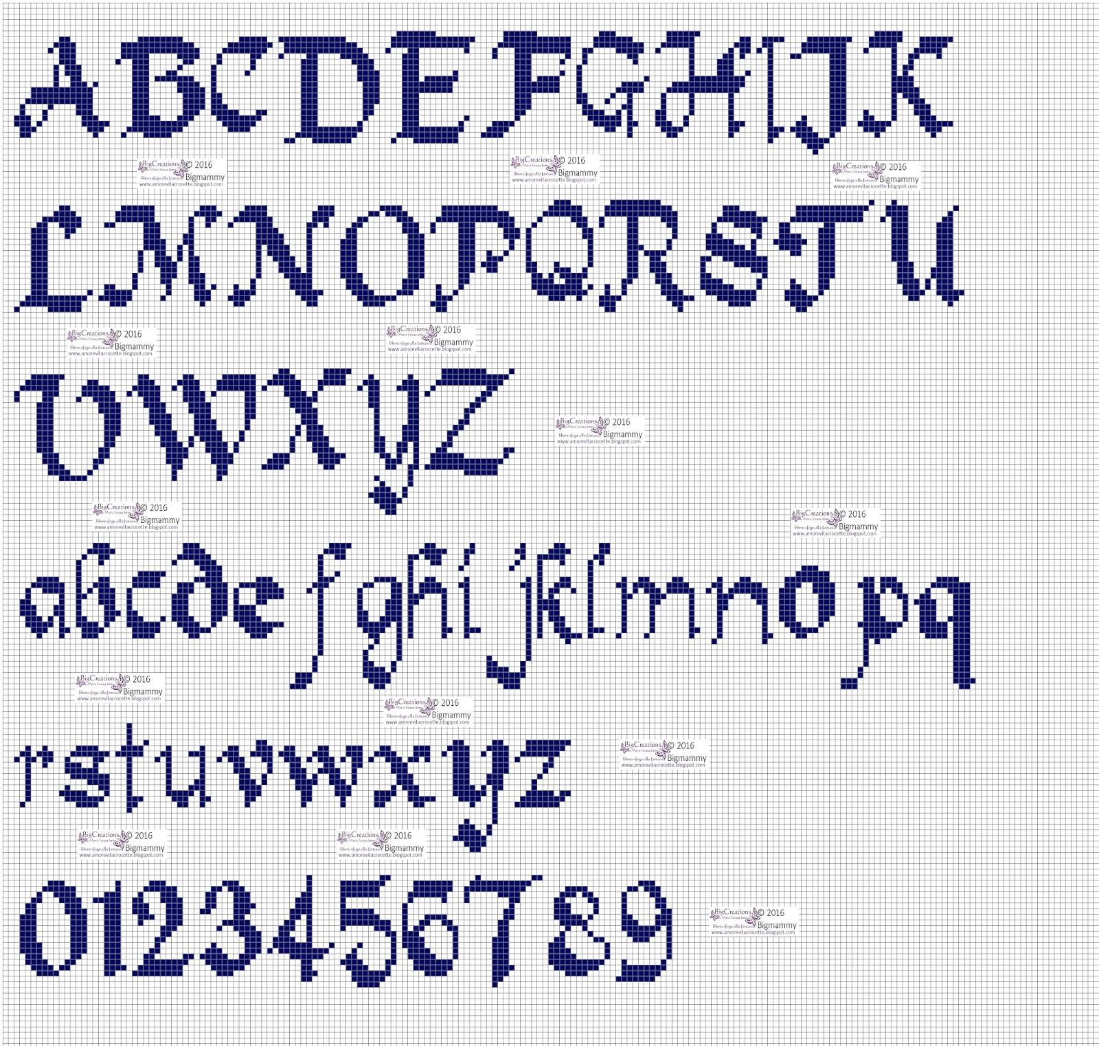 Amorevitacrocette punto croce alfabeti in corsivo for Punto croce schemi alfabeto