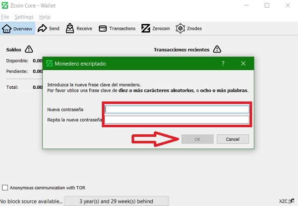 Cifrar contraseñá wallet criptomonedas XZC