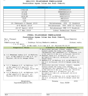 Jurnal PAI Kelas 6 Kurikulum 2013 Revisi 2018 Semester 2