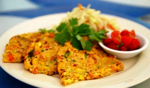Corn and Chickpea Fritters with Cherry Tomato Salsa