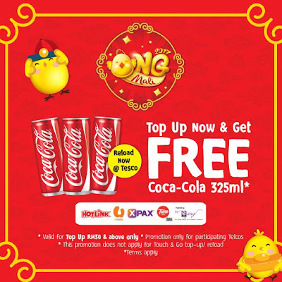 Tesco Malaysia Top Up Mobile Reload Free Coca-Cola Promo
