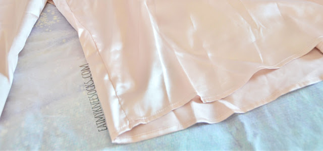 Pale pink beige rose gold silky satin keyhole cutout open back mock neck blouse from Romwe