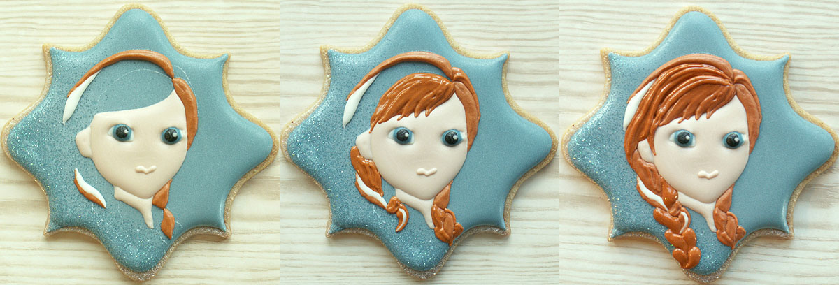 Collage of stages of piping Anna from Frozen's face onto decorated cookie, by Honeycat Cookies