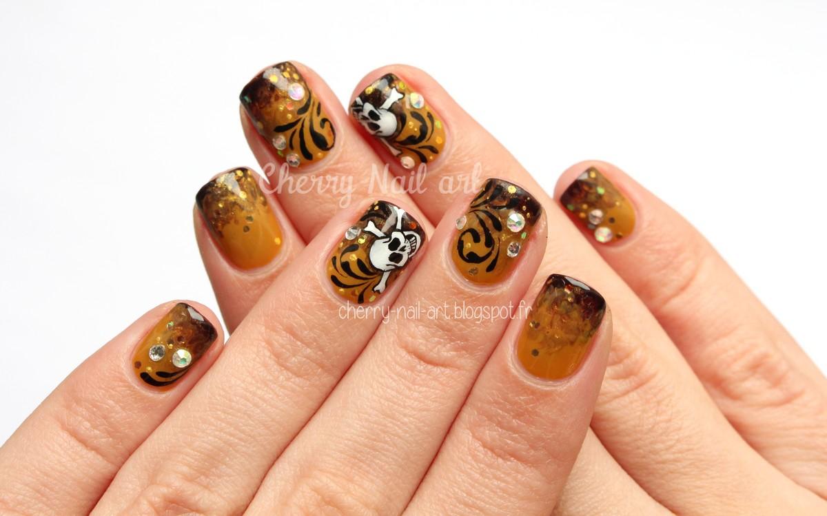 nail art tête de mort dégradé marbré et paillettes