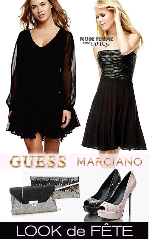 Look de fête en robe noire et talons MARCIANNO GUESS