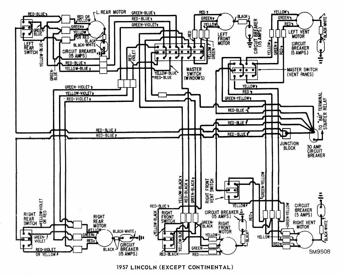 Lincoln (Except Continental) 1957 Windows Wiring Diagram