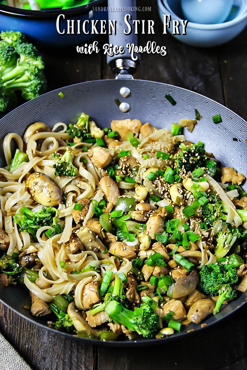 Valentine's Day Dinner Ideas - Chicken Stir-Fry with Rice Noodles