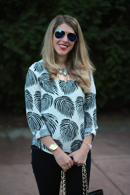 SheIn palm print top, dark jeans, pink flats, statement necklace