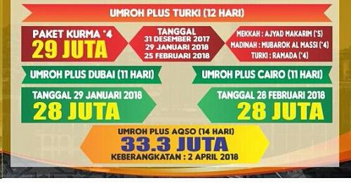 paket biaya umroh plus 2017 2018