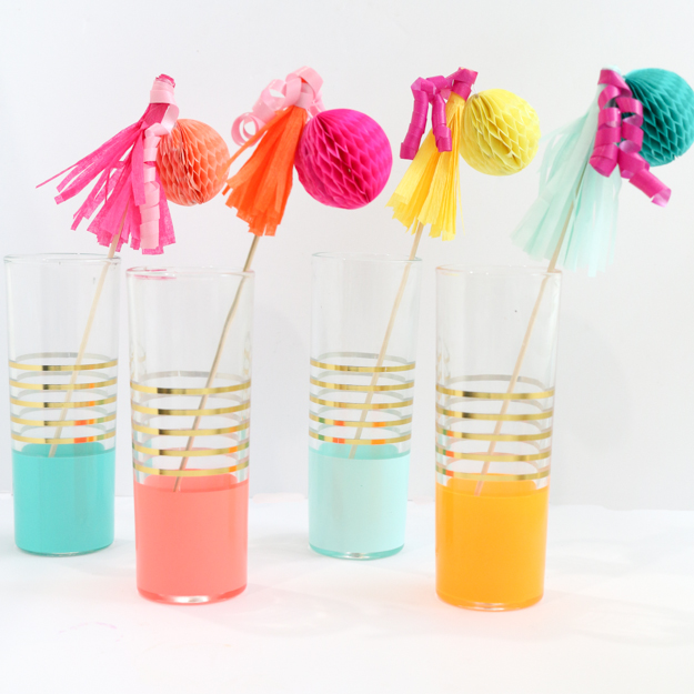 DIY Party Decorations - Drink Stir Sticks - Drink Swizzle sticks - DIY - Craft - party decorations - how to make your own - party ideas - fun colorful party ideas