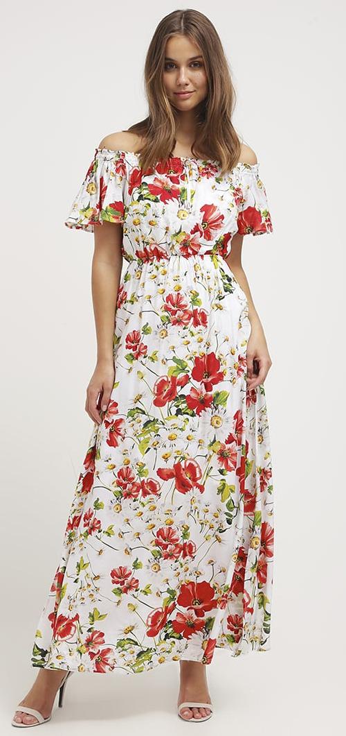 Robe longue blanche d'été à fleurs Mint&berry