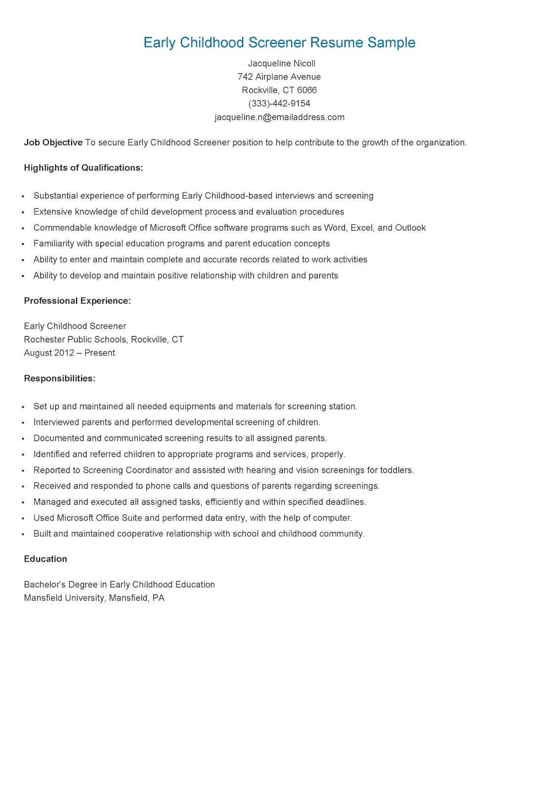 early childhood resume samples