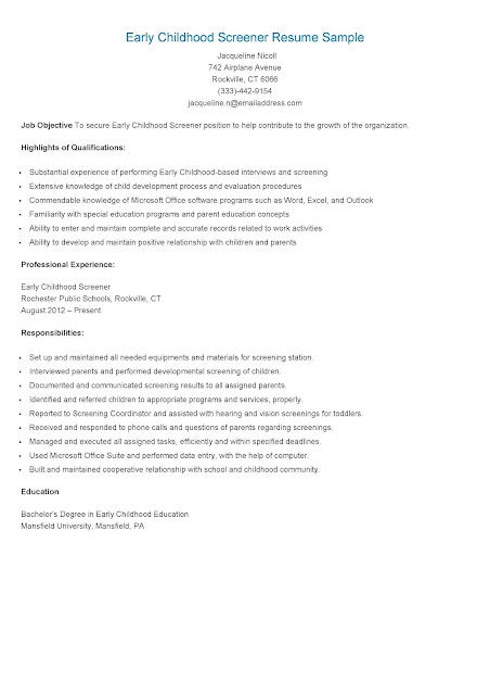 resume sles early childhood screener resume sle