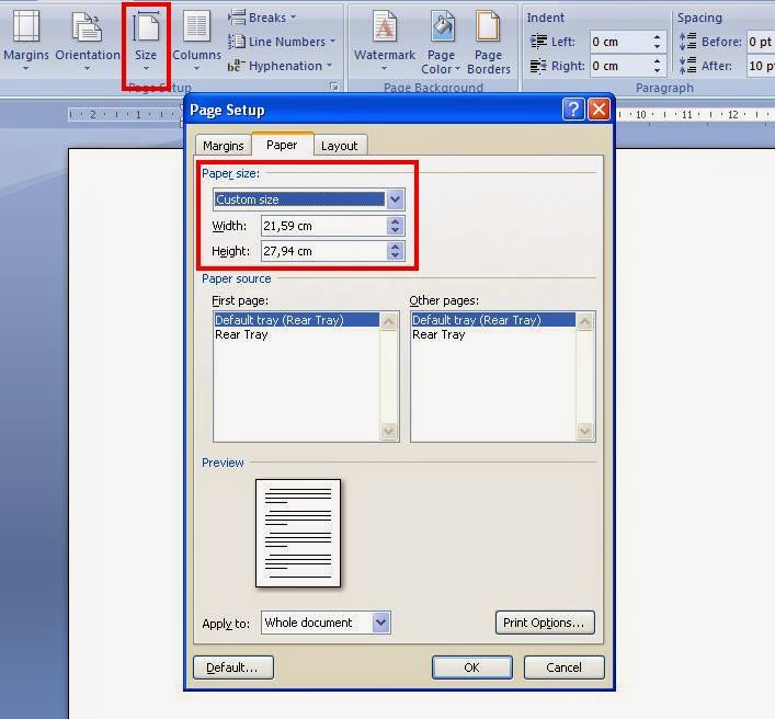 Cara Mengatur Ukuran Kertas Pada Ms.Office Word