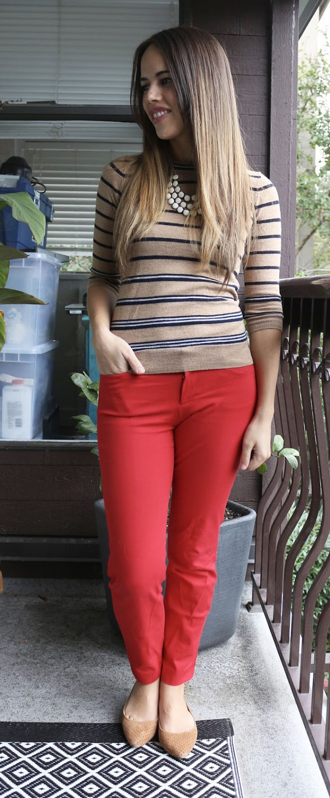 Jules in Flats - J.Crew Factory Camel Striped Sweater, Red Pixie Pants, Suede Amelia Flats