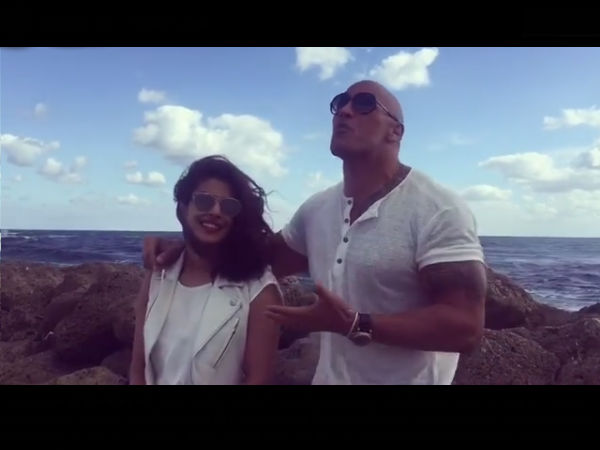 dwayne johnson with priyanka chopra in baywatch