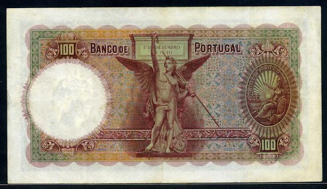 Portuguese paper money 100 Escudos banknote Obelisk at Restauradores Square Lisbon